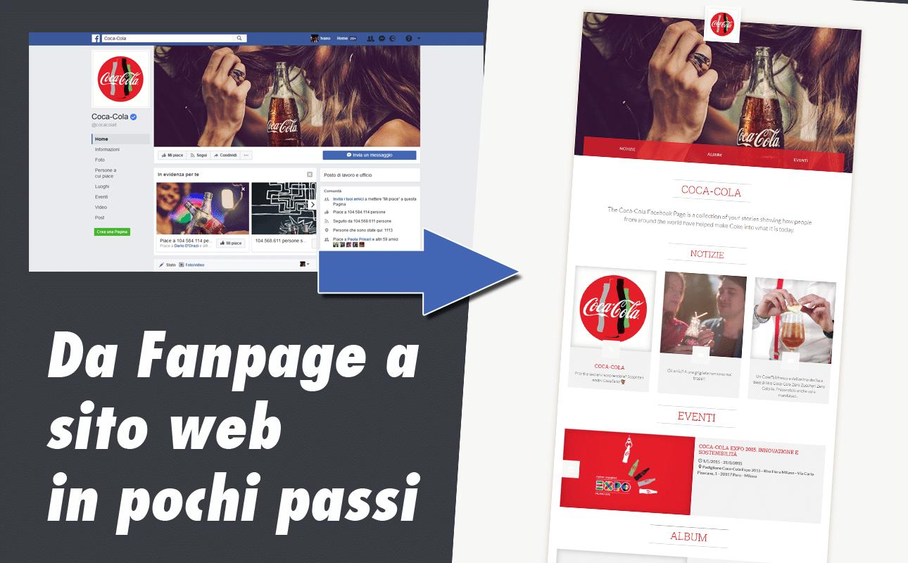 creazione sito web da fanpage facebook
